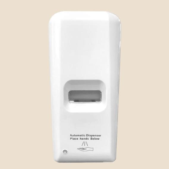white automatic hand sanitizer dispenser
