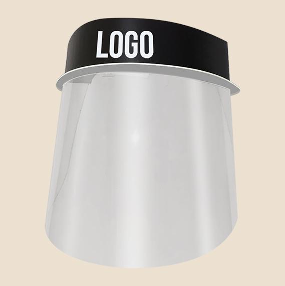 Acrylic hard plastic face shield with company logo