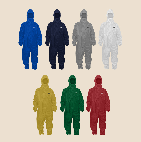 Hazmat suit with hood in different colors