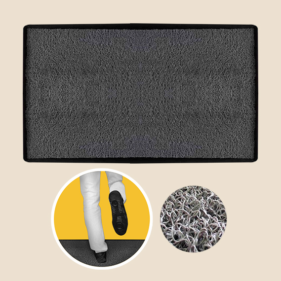 rubber coil disinfecting mat with tray