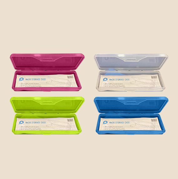 Blue, yellow, pink and white Face Mask Storage Case