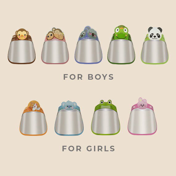 Personal Protective Equipment Kiddie Face Shield for Girls and Boys in various designs