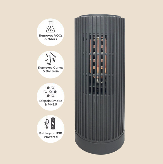 black mini portable ionic air purifier