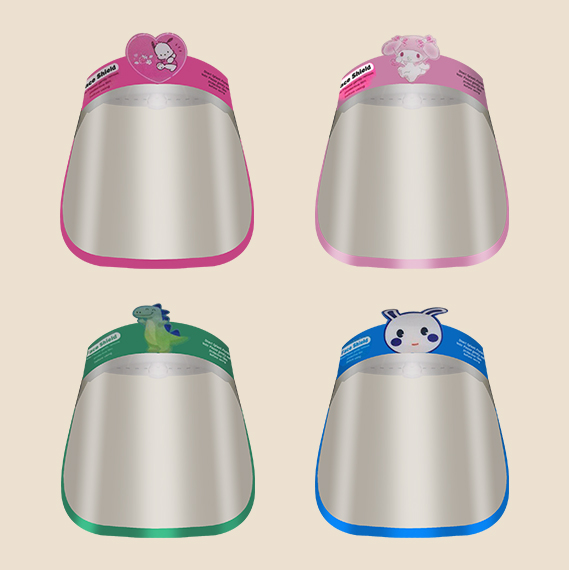 toddler face shield in different color and patch design