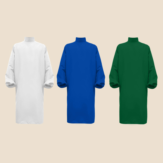 White, Blue, green surgical gown with stand collar