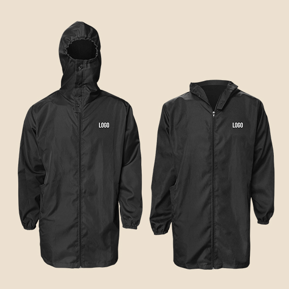 Uniform Supplier Philippines, Gray and Black Branded Trench Jacket PPE with Hoodie