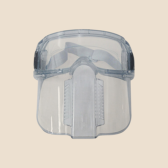 Clear safety goggles with face shield.