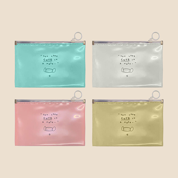 White, Teal and Old Rose Plastic Mask Pouch