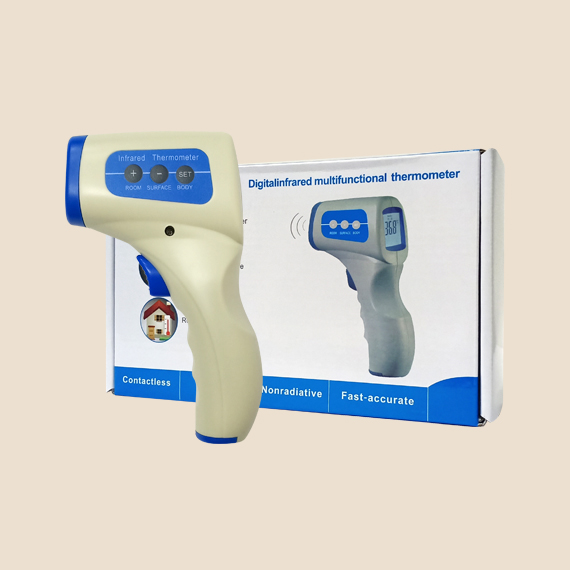 A box and contactless infrared thermometer