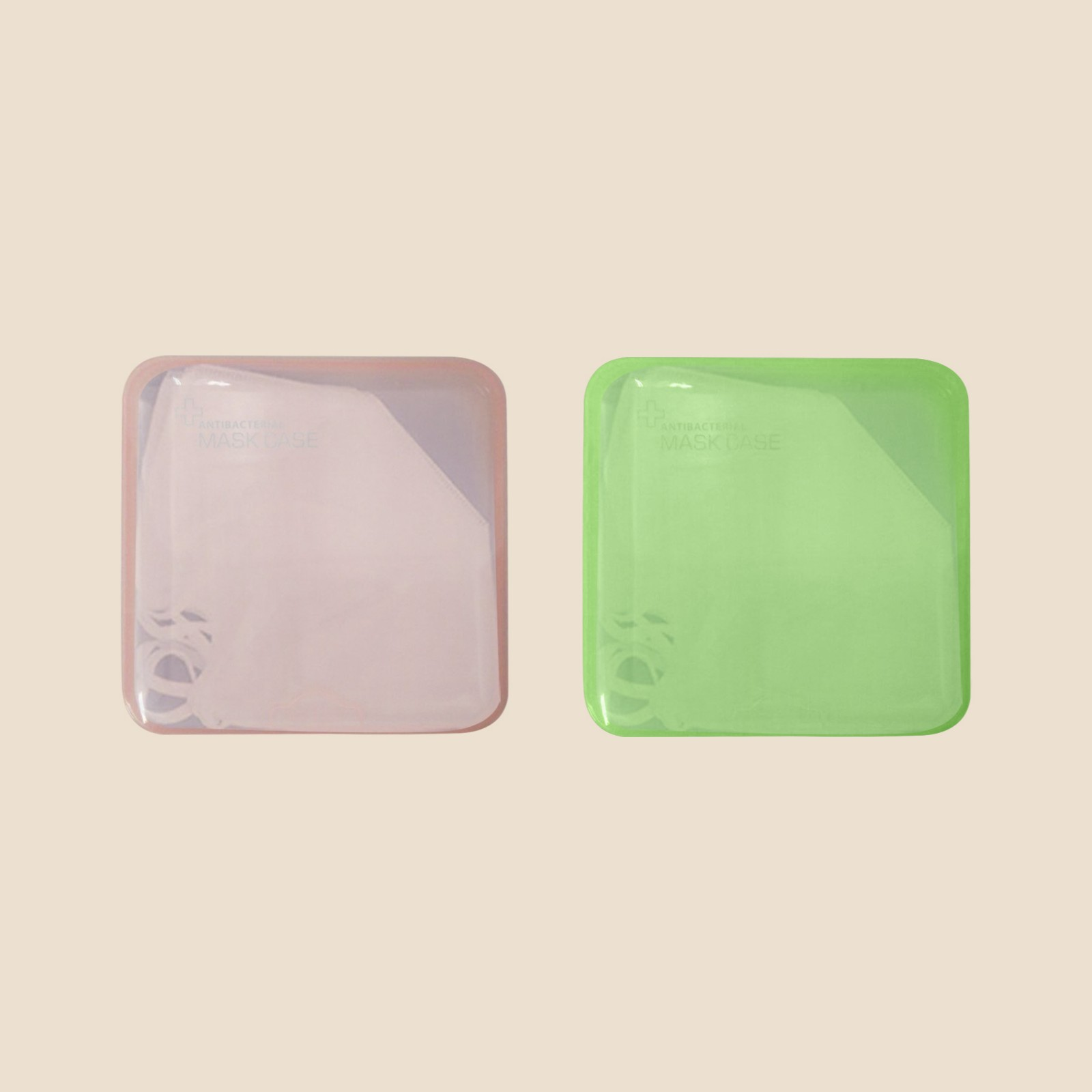 Clear, Light Blue and Light Pink Folded Mask Case